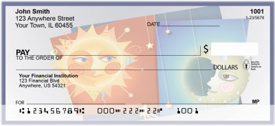Whimsical Sun and Moon Personal Checks | BAB-82