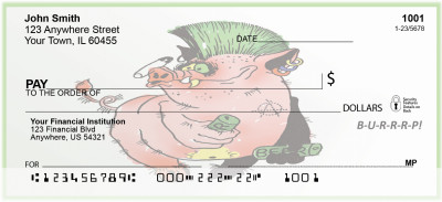 Punk Pig Beer Drinker Personal Checks | BAD-73
