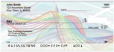 Abstract Rainbow Wave Personal Checks | BAI-48