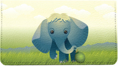Baby Animals Elephant Leather Checkbook Cover | CDP-ANK73A