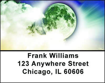 Full Moon and Clouds Address Labels | LBBAB-80