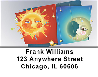 Whimsical Sun and Moon Address Labels | LBBAB-82