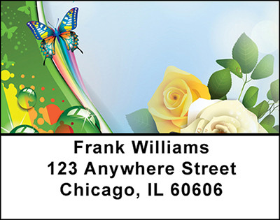Butterflies and Roses Address Labels | LBBAJ-10