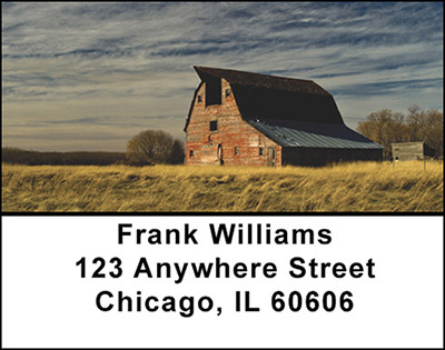 Vintage Old Farm Barns Address Labels | LBBAK-49