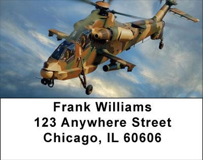 Camouflaged Helicopters In Flight Address Labels | LBTRA-23