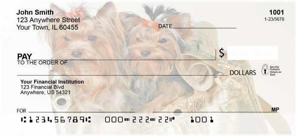 Yorkshire Terrier Sparkle Personal Checks | BAB-40