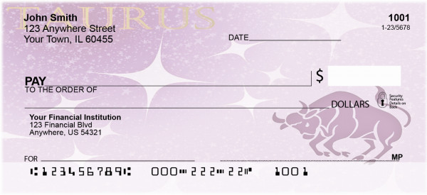Taurus Zodiac Sign Personal Checks | BAB-57