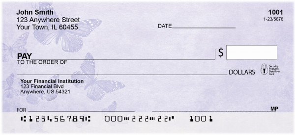 Butterflies on Purple Personal Checks | BAB-77