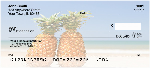 Pineapples on the Beach Personal Checks | BAC-21