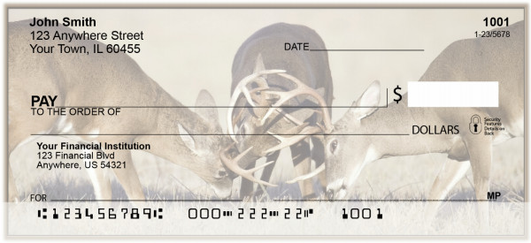 Rutting Whitetail Bucks Personal Checks | BAK-21