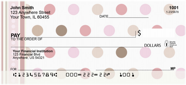 Pink - Brown Dots on Dots Personal Checks | BAQ-45