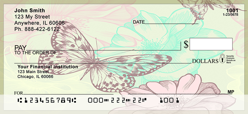 Vintage Butterfly Personal Checks