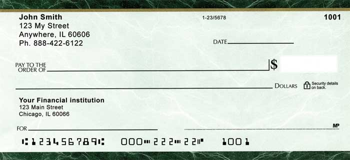 Green Marble Personal Checks