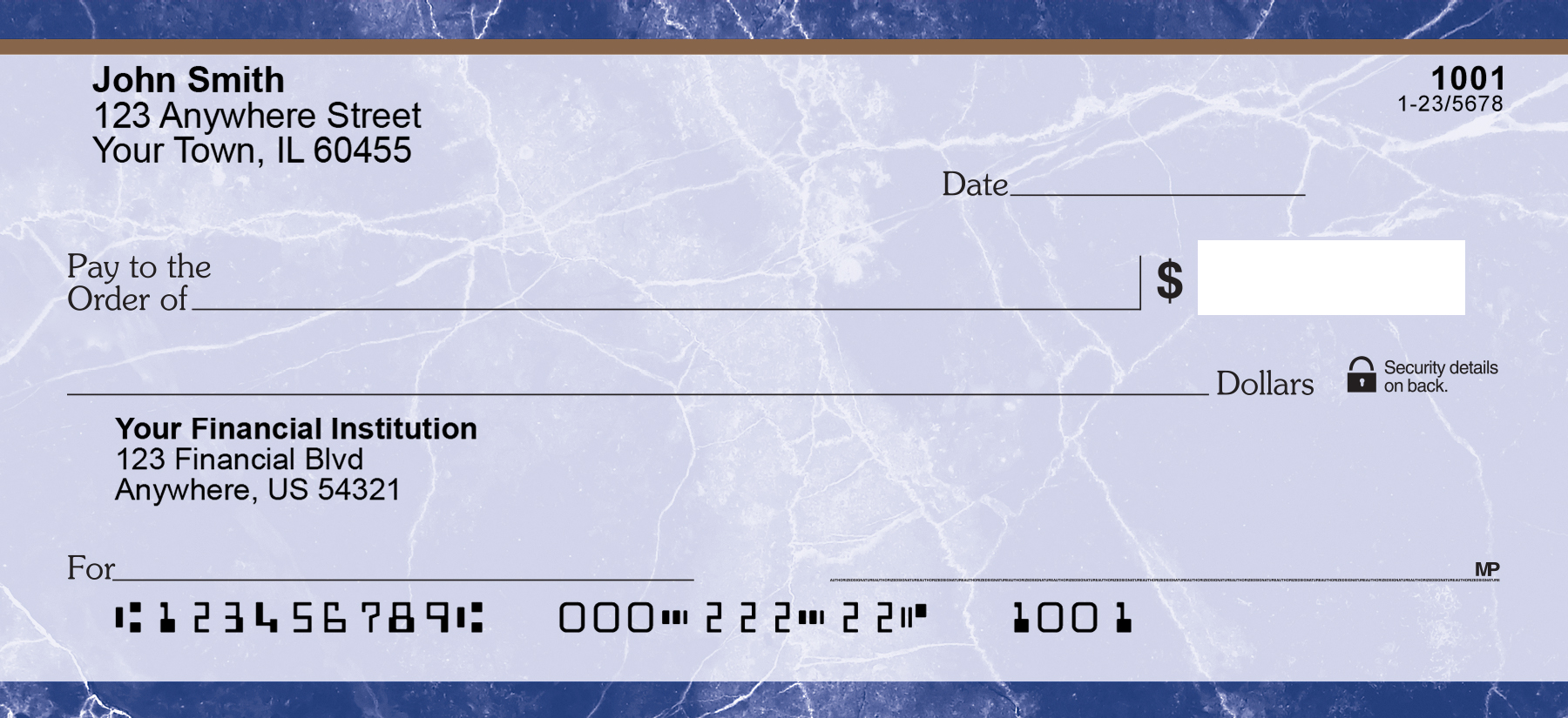 Blue Marble Personal Checks