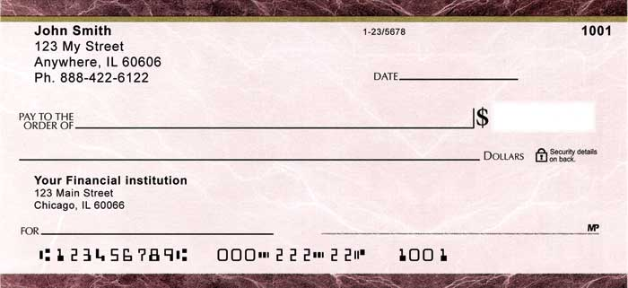 Burgundy Marble Personal Checks