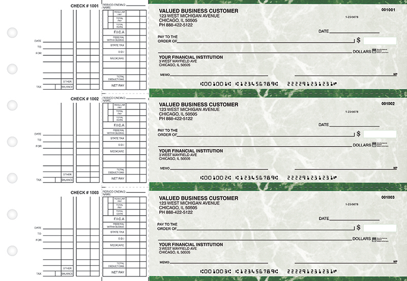 Green Marble Multi Purpose Business Checks